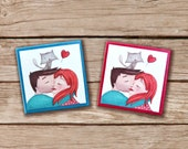 """Fridge Magnet """"Young Lovers"""" - Lovers kissing, Magnetic illustrations, gift idea with paint printed on paper"""