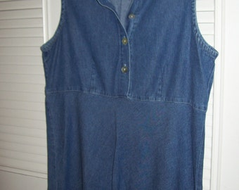 Vintage Denim Short Summer Dress, Easy Straight Sleeveless Find.Medium