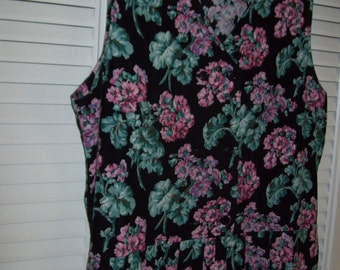 Vintage Pinwale Corduroy Floral Maxi Jumper. Size 12. Pink and Green  Fans