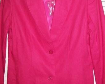 Vintage J G Hook Linen Hot Pink Blazer Jacket 6 Tall. Perfect, Yummy Color !