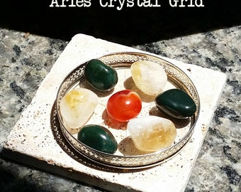"Zodiac ""Aries"" Crystal Astrology Grid - Citrine, Carnelian & Bloodstone + Card"
