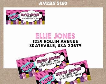 PRINTABLE-Girl Superhero Return Address Labels-Matching Return Address Labels, pink, purple (#342)