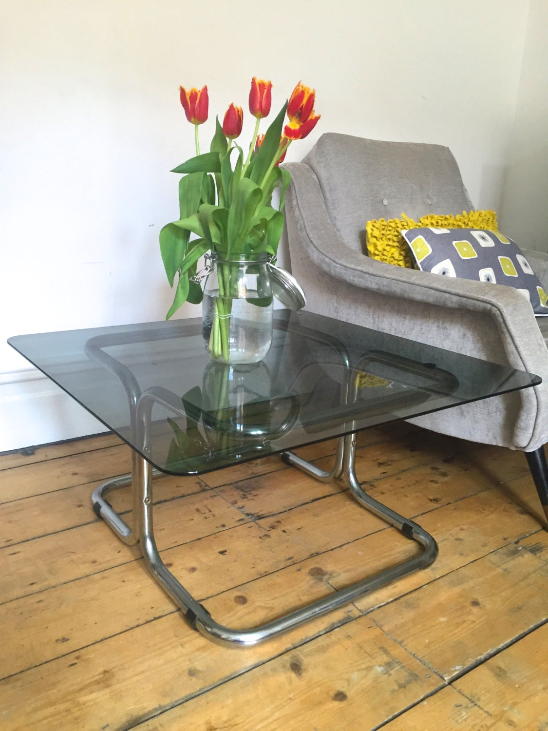 Vintage Retro Glass Coffee Table 1960s 1970s