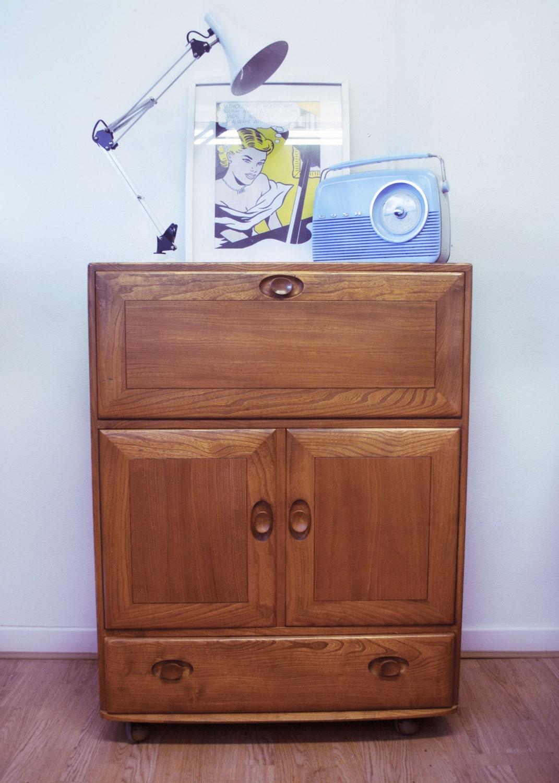 Retro vintage ercol desk bureau storage windsor range mid cenury design 197 - Bureau design vintage ...