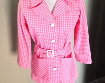 Pretty in pink, Pink and White Gingham Jacket, Belted