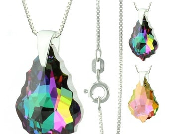925 Sterling Silver Faceted Baroque Swarovski Crystal Pendant Necklace
