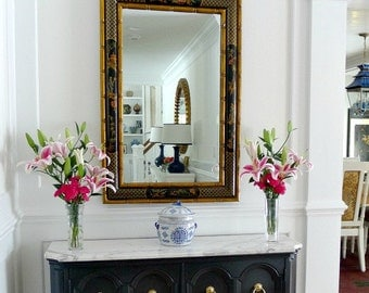 Huge Hollywood Regency Pagoda Chinoiserie Mirror with faux bamboo and gilded details, Chinese Chippendale,  LaBarge-style, MCM