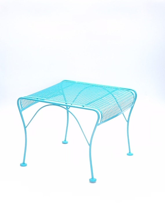 Reserved Lenee Vintage Aqua Metal Bench By Makingmidcenturymod