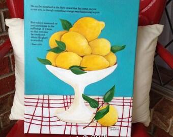 Original Acrylic Painting, Lemons, Bible Verse, Faith, Inspirational, ORIGINAL