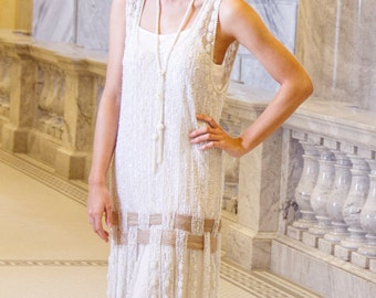 Cream Crystal 1920's ICON Beaded Flapper Gatsby WEDDING Dress by Deco Haus