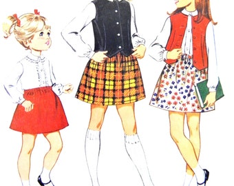 60s McCall's 9394 Girls'/Childs' Mini Skirt, Long Sleeved Blouse and Vest with Shaped Hemline Vintage Sewing Pattern Size 6
