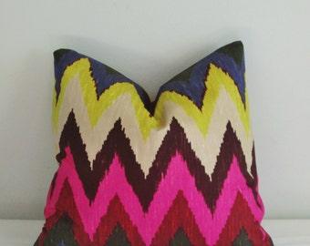 Schumacher Adras Ikat Chevron Decorative Pillow Cover 18x18, 20x20, 22x22 Throw Pillow - Accent Pillow Martyn Bullard