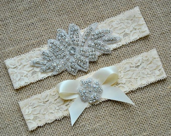 Wedding Garter Bow Ivory White Crystal Garter Set Bridal Garter Set Vintage Wedding Lace Crystal Rhinestone Garter and Toss Garter Set