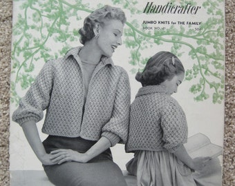 Knit Book - Bernat Handicrafter Book No. 41 - Jumbo Knits for The Family - Vintage 1954