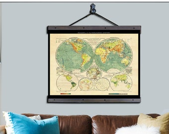 """Pull Down Map. Russian Map 1909. 48""""w x 36""""h,  School Chart, School Map, Wall Chart, Hanging Map, Antique Wall Map,  Map the world 1909"""