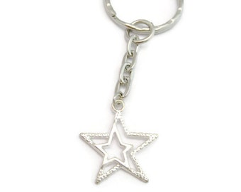 Star  Keychain   Double Star Keychain Hollow Stars Keychain Gifts Under 10 Star Gifts