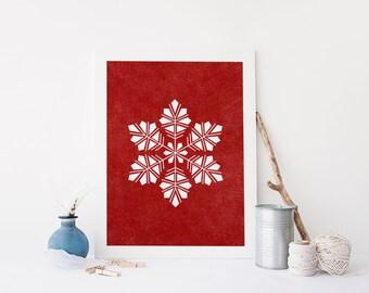 Holiday Art Print Printable Christmas Snowflake Wall Art Decor 8x10 Digital File Instant Download Red Holiday
