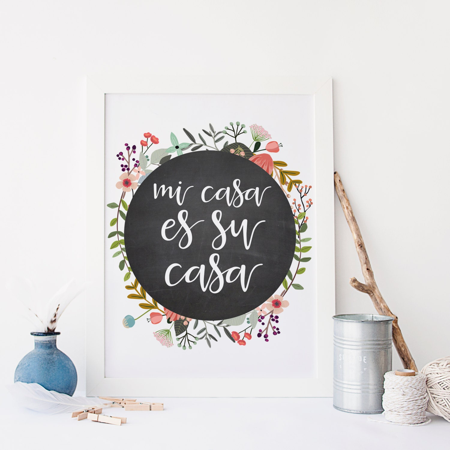 spanish quote printable art print 8x10 mi casa es su casa my. Black Bedroom Furniture Sets. Home Design Ideas