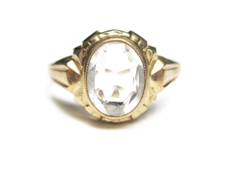 antique 10k white topaz ring size 5 budlong docherty