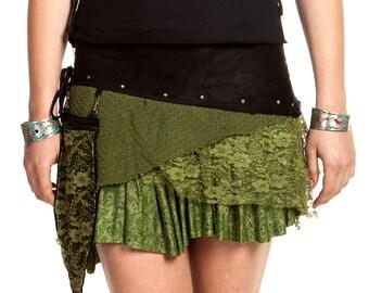 PIXIE POCKET MINISKIRT, psy trance clothing, xl pixie clothing, pixie skirt, festival miniskirt, green psy skirt, plus size pixie skirt