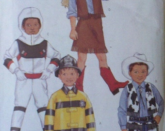 Cowgirl, Cowboy, Spaceman  Children's Costumes. Butterick  3244 Sizes 2, 3, 4, 5. Fireman pattern is missing.