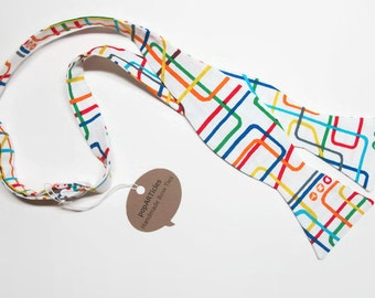 Freestyle Transit Map Bow Tie - Subway Bow Tie - Map Bow Tie - Self-Tie Bow Tie - New York Bow Tie - Train Bow Tie - Transit Bow Tie