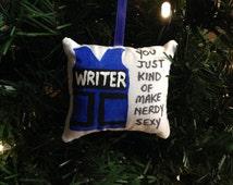 "Richard Castle Writer Bulletproof Kevlar Vest ""You Just Kind of Make Nerdy Sexy"" Christmas Ornament Kate Beckett"