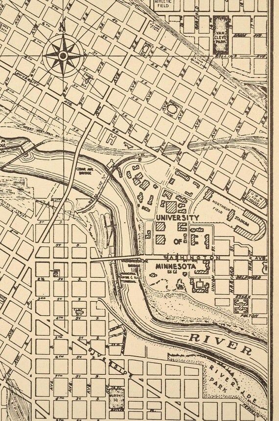 Minneapolis Map Minneapolis Street Map 1940s By MapsBooksEphemera