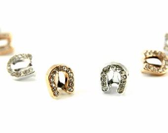 Horse Shoe Slider Charms, 10 pcs Rhinestone Slider Charms, Silver Bronze Slider Spacer Charm, 6mm Hole Slider Charm, Large Hole Slider Charm
