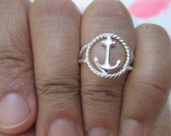 Anchor ring with Rope Halo and band-  sterling silver*