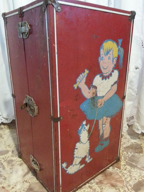 Vintage Metal Barbie Doll Trunk Case With Hanging Rack And