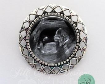 Baby Sonogram Brooch - Your baby's sonogram on a brooch