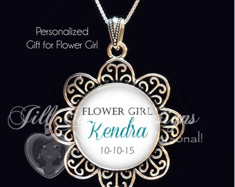 FLOWER GIRL gift, flower girl necklace, personalized flower girl pendant, Flower necklace