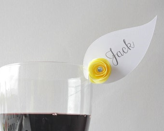 Wedding Wine Glass Card Holder • Name • Champagne • Place Cards • Paper Flowers