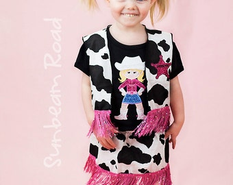 Girl's Western Cowgirl Skirt - Cow Print with Glitter Fringe