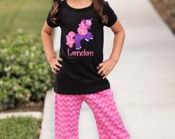 Girl Unicorn Outfit with Glitter Unicorn Shirt and Chevron Pants