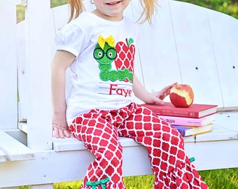 Girl's School Outfit with Bookworm Shirt and Damask Ruffle Pants (or Shorts)