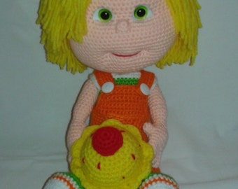 SAM Crochet Amigurumi Doll, with Cupcake and 1 Chocolate Chip Cookie