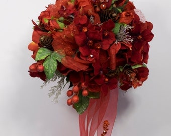 RED Two piece WEDDING FLOWERS brides bouquet and boutonniere