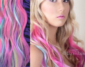 "20"" Clip-in Extensions Blonde with Pastel Blue, Pink & Purple Highlights REMY Human Hair AAA GRADE 100 / 150 / 200 / 250 / 300 grams"