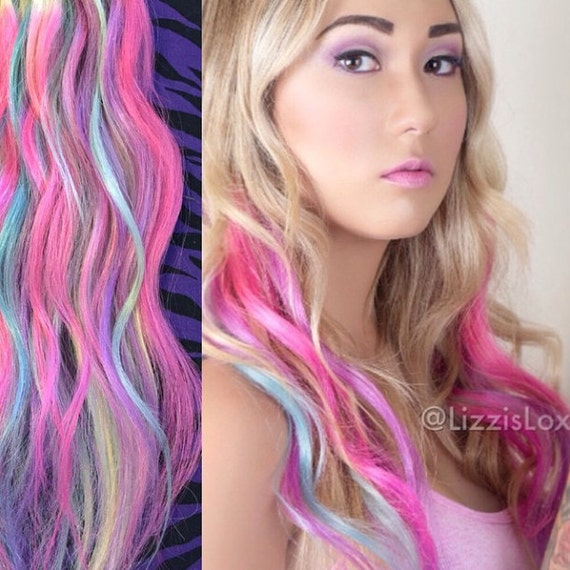 20 clip in extensions blonde with pastel blue pink like this item pmusecretfo Images