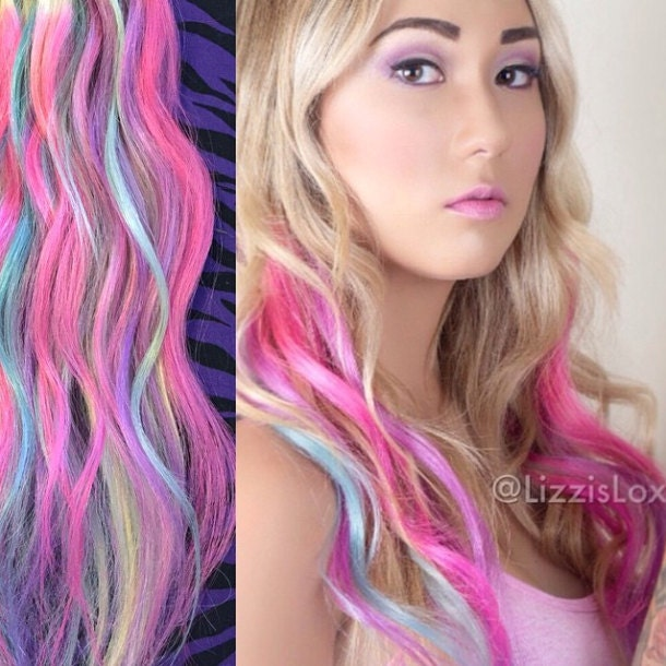20 clipin extensions blonde with pastel blue pink