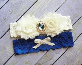 Royal Blue Wedding Garter, Garter Set, Bridal Garter, Keepsake Garter, Toss Garter, Dark Blue Garter, Ivory Garter, Something Blue