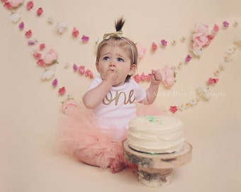 Baby Girls 1st Birthday Outfit - Blush Peach Tutu Gold Cursive One With Gold Bow - Baby First Bday Outfit - Baby 1st Bday - Cute Bday Outfit