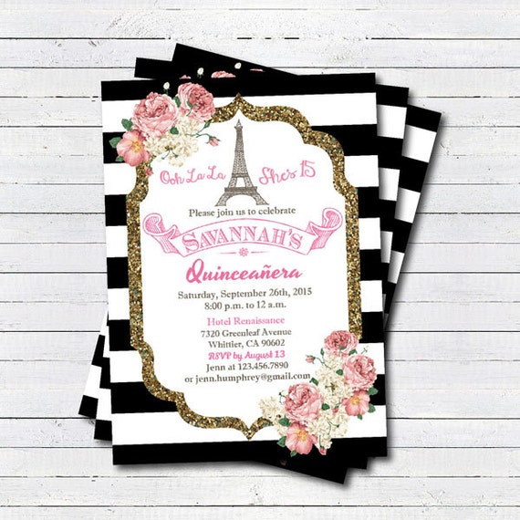Quinceanera Invitation Pink White Glitter Gold Paris Theme