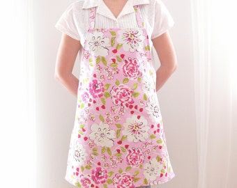Floral Womens Apron, Peony Pink and White Apron, Full Ladies' Apron