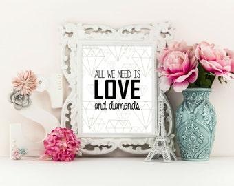 Diamond Art - Love and Diamonds, Home Decor, Birthday Gift, Geometric Diamond Print, Modern Wall Art, Diamond Art