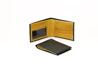 Men's Two-Tone Bifold - Genuine Leather Wallet - Black & Yellow