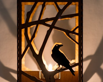 "Raven in Branches laser cut wood candle luminary. 5""x5""x7"". Tea light candle included. Free shipping to US."