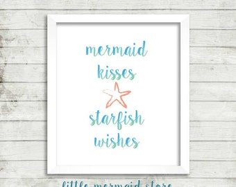 Mermaid Kisses Starfish Wishes Printable, Instant Download